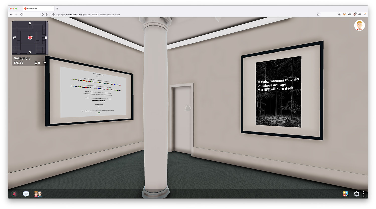 terra0's 'Two Degrees' NFT (right) in Sotheby's 'Natively Digital: A Curated NFT Sale' exhibition in decentraland.org